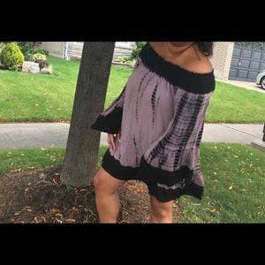 Tie Die Off Shoulder Dress